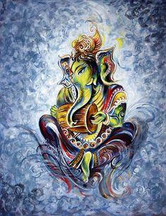 Musical Ganesha Symbolic Elephant God Aum Wisdom by sadashivarts