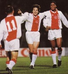 Jari Olavi Litmanen with Patrick Kluivert and Marc Overmars