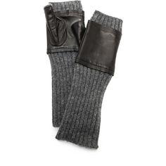 Carolina Amato Fingerless Knit & Leather Gloves - Black/Heather Grey () found on Polyvore