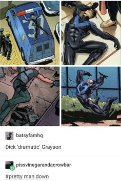 It's days like these that reaffirm to me why Dick Grayson is the love of my life And he was an Acrobat Memes Marvel, Dc Memes, Marvel Dc Comics, Nightwing, Batwoman, Univers Dc, Jason Todd, Dc Characters, Detective Comics