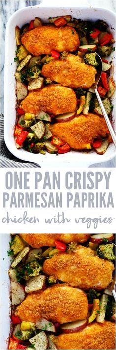 One Pan Crispy Parmesan Paprika Chicken with Vegetables has tender and juicy chicken with a crispy parmesan paprika breading surrounded by veggies. It it is full of flavor and makes an amazing one pan dinner your family will love! Entree Recipes, Dinner Recipes, Cooking Recipes, Healthy Recipes, Weekly Recipes, Smoker Recipes, Turkey Recipes, Chicken Recipes, Chicken And Vegetables