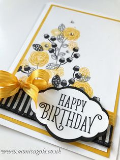 Stampin' Up UK Demonstrator Monica Gale, helps you unleash your creative side. Join me for inspiring projects and request a FREE catalogue First Birthday Party Favor, 18th Birthday Cards, Birthday Cards For Her, Handmade Birthday Cards, Greeting Cards Handmade, Happy Birthday Gorgeous, Flower Cards, Homemade Cards, Stampin Up Cards