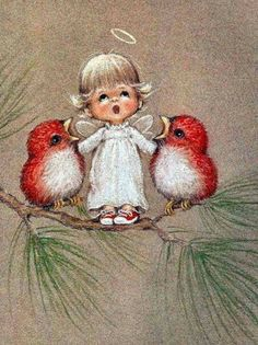 christmas paintings 40 Beautiful Christmas Painting Ideas to Try This Season - Bored Art Christmas Angels, Christmas Art, Beautiful Christmas, Winter Christmas, Christmas Decorations, Christmas Thoughts, Retro Christmas, Christmas Cookies, Vintage Christmas Cards
