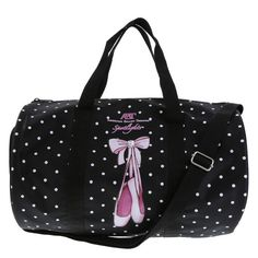 "All her essentials can easily be stored in this cute duffel bag. It features a wipeable upper with cute dance graphic and polka dot motif, side mesh pockets, zippered top, lined interior, two handles and a crossbody strap. 8 1/2""HX13 1/2""WX8""D. 100% Nylon."