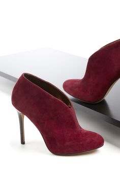 We're Loving, these killer booties in a dangerous Oxblood color