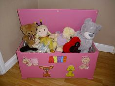 Decorated toy box for girls