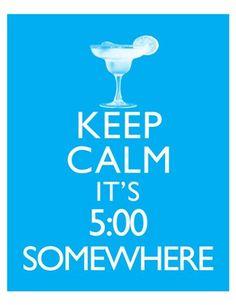 Keep Calm It's 5:00 Somewhere Jimmy Buffett Parrotheads Art Print 8x10