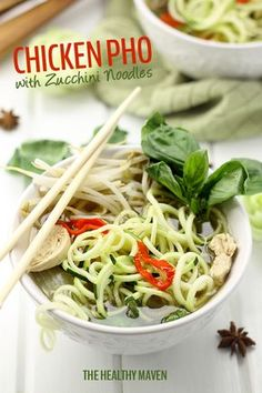 Healthy Chicken Pho with Zucchini Noodles 6 Healthy Spiralized Recipes!