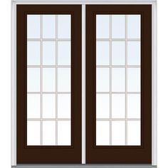 Milliken Millwork 62 in. x 81.75 in. Classic Clear Glass GBG Full Lite Painted Majestic Steel Exterior Double Door, Polished Mahogany