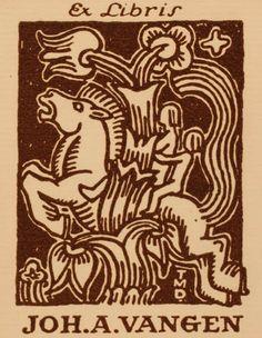 Exlibris by Trygve M Davidsen for Joh. A. Vangen