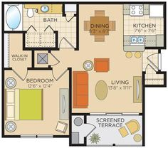 Kensington Floorplan: 713 Sq Ft 1 bedroom 1 bath