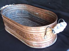 Lovely Copper Jardiniere with Porcelain by VintageRetroOddities