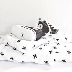 Modern Burlap - organic baby muslin swaddle blanket Cross