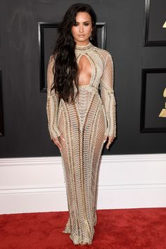 Demi Lovato Walks Grammys Red Carpet in a Completely Sheer Dress