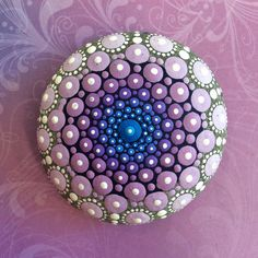 Jewel Drop Mandala Painted Stone- Sacred Geometry pastel dream