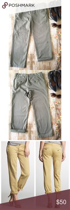 """J. Crew Broken In Boyfriend Chinos in Olive Green Olive green distressed chinos from J. Crew.  In excellent preowned condition, but purposefully distressed. City fit.  %100 cotton.  Please note that the stock photos show these pants in khaki, but the ones I'm selling are olive green.  Laying flat, they measure about 15"""" across waist, 18.5"""" across hips, 8"""" rise, and 26"""" inseam. J. Crew Pants Ankle & Cropped"""