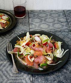 Australian Gourmet Traveller recipe for tuna crudo with ruby grapefruit and…