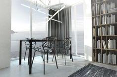 Nowoczesna jadalnia, czarno-biała jadalnia, krzesła, stół, lampa, oświetlenie, modernizm, minimalizm. Zobacz więcej na: https://www.homify.pl/katalogi-inspiracji/18745/inspiracja-ida-bialo-czarne-oskarowe-stylizacje-we-wnetrzach