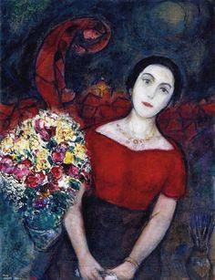 Reproduction de Marc Chagall, Portrait De Vava - 1955. Tableau peint à la main dans nos ateliers. Peinture à l'huile sur toile.