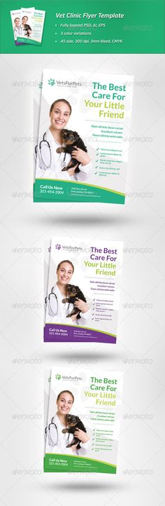 Vet Clinic Flyer Template .This image is available on GraphicRiver. Clean and modern flyer to promote veterinarian clinic, animal hospital, pet care services or similar businesses. It comes in 3 different color variations. Features: A5 size, CMYK, 300 dpi, 3 mm bleed Fully layered and editable PSD, AI & EPS 3 color variations All elements (excl. photo) are vectors Only free fonts (for commercial use) Fonts Lato – download from Google Fonts Nunito – download from Google Fonts Please note…