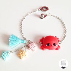 Cute Crab and Seastars bracelet polymer clay por LittleDipperShop