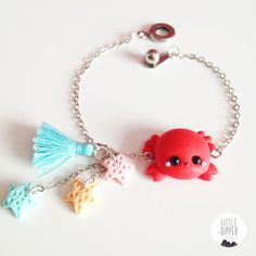 Cute Crab and Seastars bracelet polymer clay por LittleDipperShop