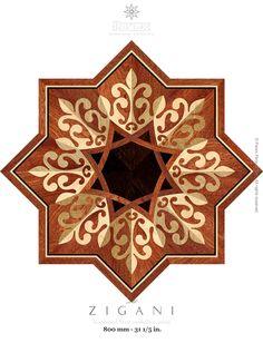 The Zigani hardwood floor medallion pattern. Manufactured by Pavex Parquet - http://www.pavexparquet.com/