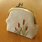 pouch with original hand embroidered cattail motif on linen. part of the { y * handmade } collection Embroidery Purse, Hand Embroidery Designs, Embroidery Applique, Embroidery Stitches, Embroidery Patterns, Frame Purse, Fabric Bags, Handmade Bags, Handmade Bracelets