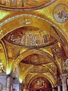 The glittering gold mosaics of St. Mark\'s Cathedral in Venice.