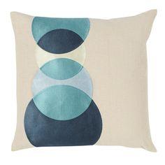Wallflower Pillow in Ocean Blues.
