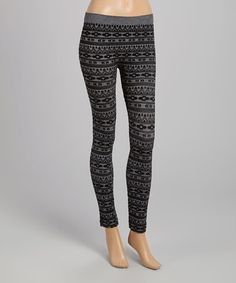 Love this Black & Gray Aztec Seamless Leggings by Feathers on #zulily! #zulilyfinds