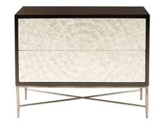 """Bernhardt Interiors-Gmelina Solids And Flat Cut Cherry Veneers. Espresso Finish. Two Touch-To-Open Drawers With Capiz Shell Drawer Fronts. Hand Hammered, Solid Steel Base In Bronze Finish With """"X"""" Style Stretcher."""
