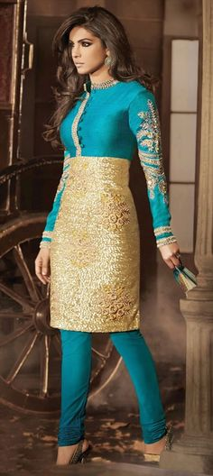 Salwar Kameez, Silk, Net, Bhagalpuri, Floral, Stone, Patch, Sequence, Resham, Blue, Gold Color Family