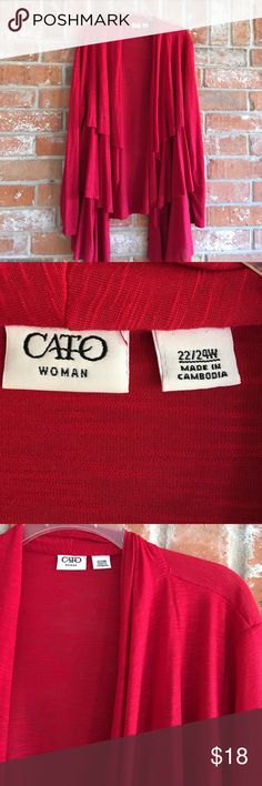 "Beautiful Red Open Cardigan Plus Size 22/24 This cardigan is really beautiful and in EUC. It does stretch and measures 26"" underarm to underarm and is 29"" long in back and about 7"" longer in front. Cato Sweaters Cardigans"