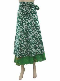 Amazon.com: Boho Wrap Skirts Vintage Silk Sari Reversible Green Wrap Around Skirt: Clothing