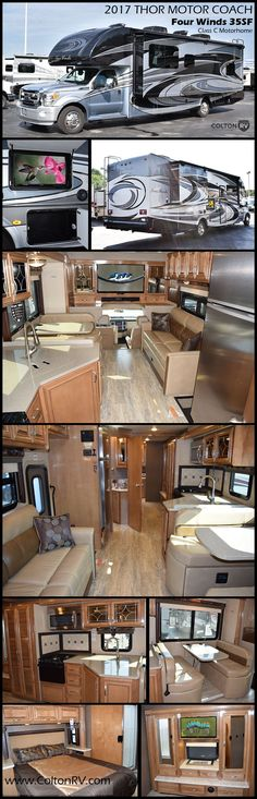 The FOUR WINDS SUPER C 35SF diesel motorhome by THOR MOTOR COACH captures your biggest dreams and helps make them all come true. This RV features a rear en suite bathroom and a half bath, a full wall slide, plus the cab-over bunk and sofa sleeper for additional sleeping area for family & friends!