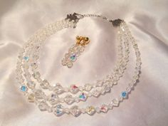 Aurora Borealis Triple Strand Faceted Crystal Beaded Necklace With SAL Earrings #SAL #StrandString