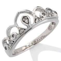 """Tween's Diamond-Accented Sterling Silver """"Tiara"""" Ring"""