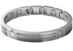 #BRACCIALE IN ACCIAIO A PIASTRINE by #Fossil