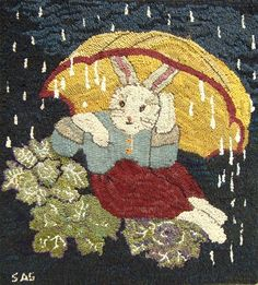 SS - Bunny's Umbrella Rug Hooking Pattern - Sharon Smith