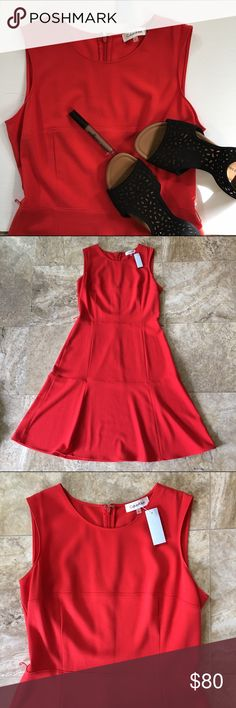 Calvin Klein a-line dress Super simple but cute a-line dress that comes with belt loop holes to add a little extra flair. Material: 64% polyester, 33% viscose, 3% spandex Calvin Klein Dresses