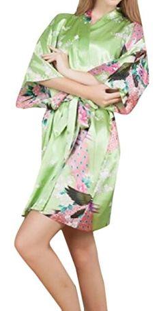 xiaokong Women s Peacock   Blossoms Satin Loungewear Kimono Green OS 28f7fdd5f