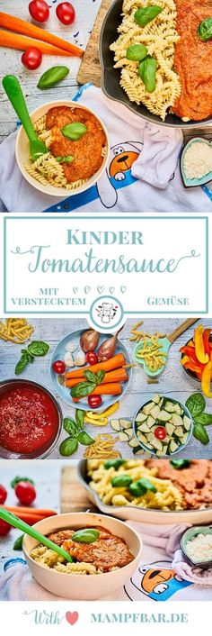 Kids tomato sauce with a lot of hidden vegetables Scherzt Tomatensauce mit viel verstecktem Gemüse Easy Tomato Sauce, Tomato Sauce Recipe, Sauce Recipes, Sauce Tomate Simple, Baby Food Recipes, Whole Food Recipes, Recipes Dinner, Hidden Vegetables, Vegetable Soup Healthy