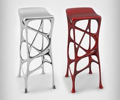 silver and red stools