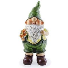 Ed the Busy Gardening Gnome Ornament with Flower