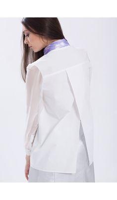 Camasa bumbac cu spate deschis Ruffle Blouse, Tops, Women, Fashion, Moda, Fashion Styles, Shell Tops, Fashion Illustrations, Fashion Models
