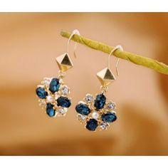 Luxurious Noble Gem Flower Earrings for Female