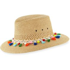 Eric Javits Bahia Squishee Packable Sun Fedora Hat (€235) ❤ liked on Polyvore featuring accessories, hats, beige, crown hat, straw fedora, tassel hat, pom pom hat and brim straw hat