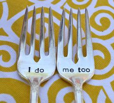 So...if I could rewind, these would be our cake eating forks. PLEASE someone use this idea so i can vicariously live through you?