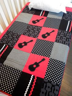 GUITAR Crib Quilt Baby boy quiltReady to ship by AlphabetMonkey....yeah my hubby would LOVE this...if he seen this..his little girl would definitely have one when we produced one! :)